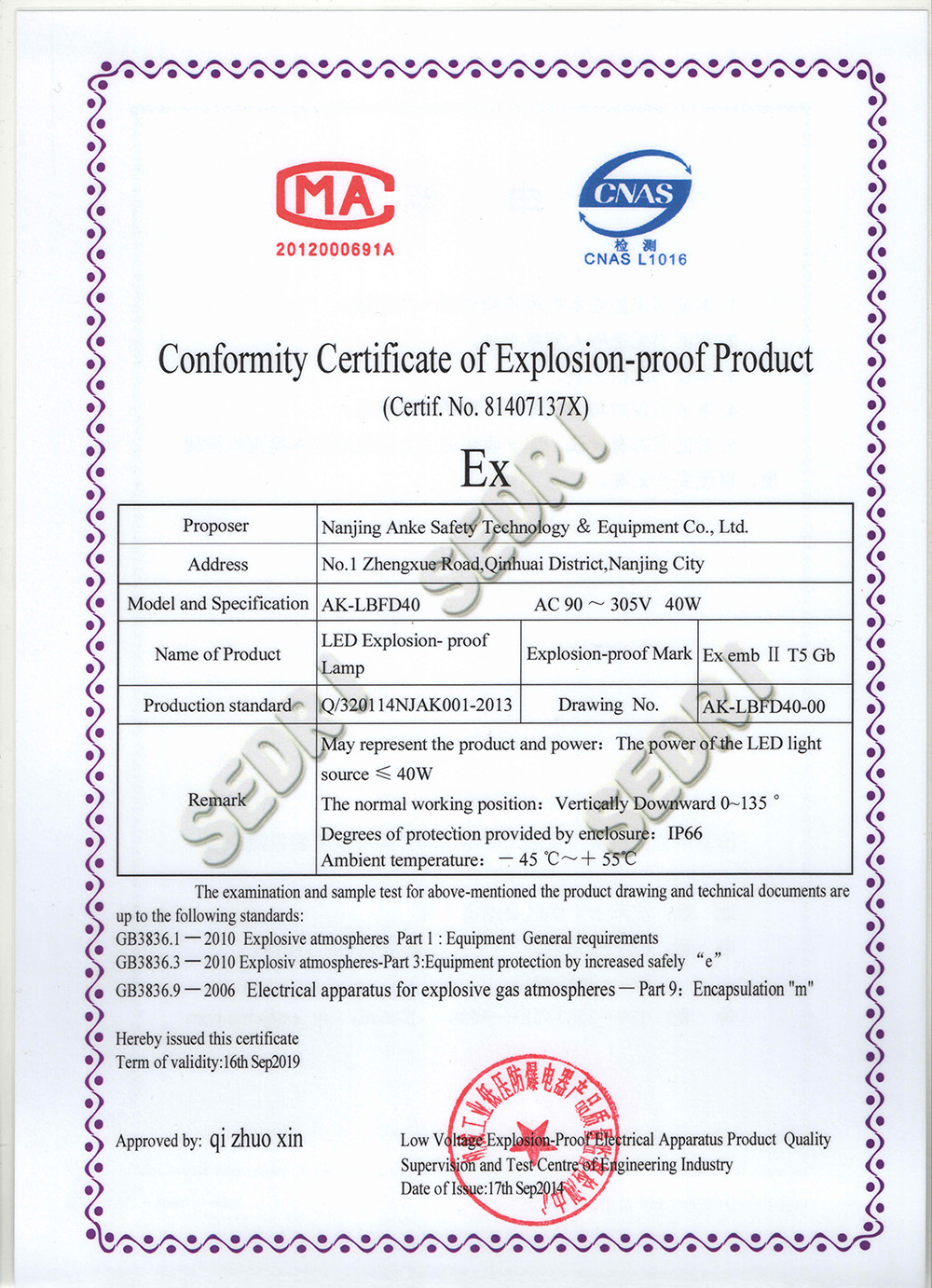 Certification - Nanjing ABK Lighting Technology Co , Ltd
